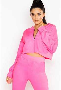 Womens Neon-pink Neon Zip Detail Crop Sweat