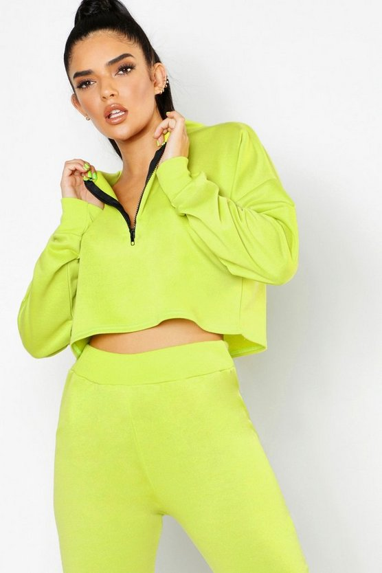 Womens Neon-green Neon Zip Detail Crop Sweat