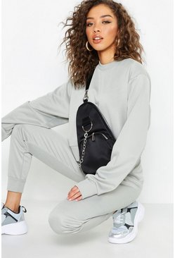 Womens Grey Crew Neck Cropped Sweat