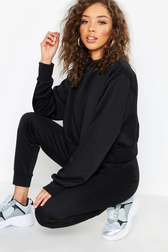 Black Crew Neck Cropped Sweat