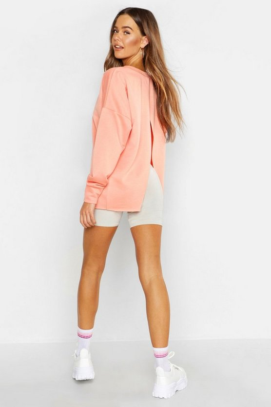 Womens Coral Split Back Crew Neck Sweat