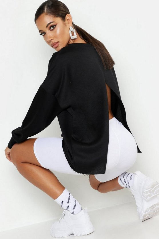 Womens Black Split Back Crew Neck Sweat
