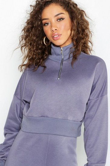 Womens Petrol Funnel Neck Zip Detail Cropped Sweat