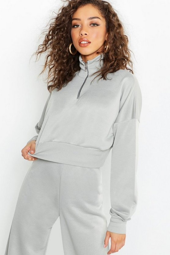 Funnel Neck Zip Detail Cropped Sweat