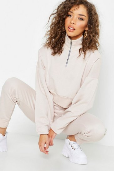 Womens Ecru Funnel Neck Zip Detail Cropped Sweat