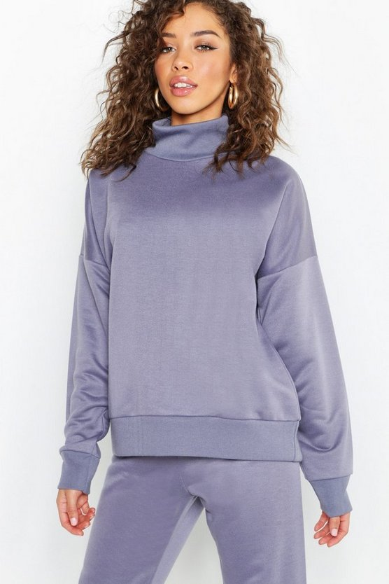 Womens Petrol Roll Neck Sweatshirt