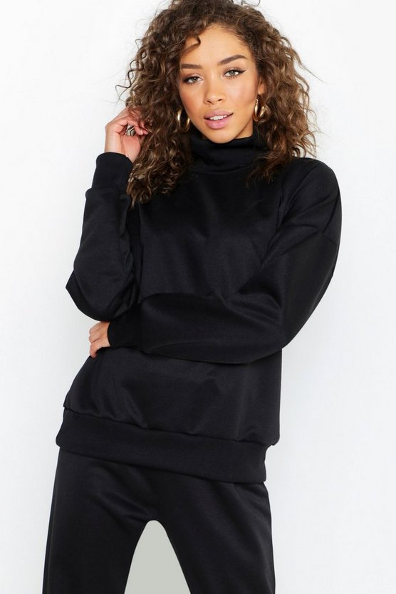 Womens Black Roll Neck Sweatshirt