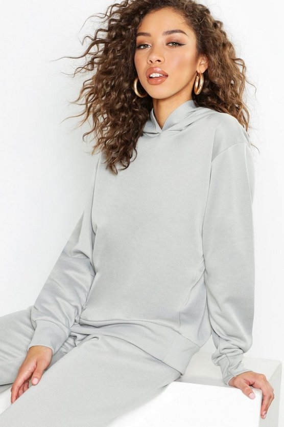 Grey Basic Overhead Sweater Hooded