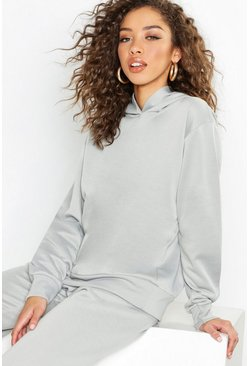 Womens Grey Basic Overhead Sweater Hooded