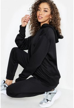 Womens Black Basic Overhead Sweater Hooded