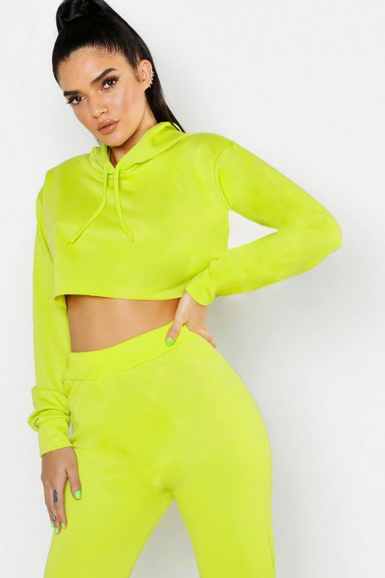 Neon-green Hooded Crop Sweat Raw Edge