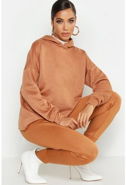 Womens Camel Hooded Sweat