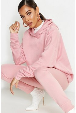 Womens Pink Hooded Colour Block Sweat