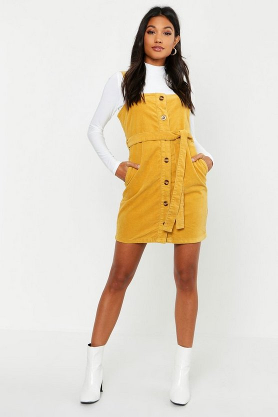 Womens Mustard Cord Button Through Belted Dress