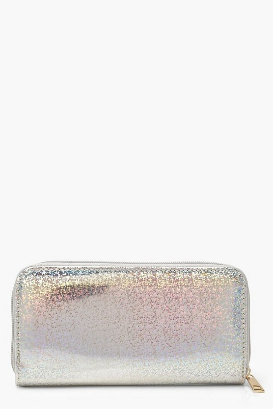 Womens Silver Holographic Ziparound Purse