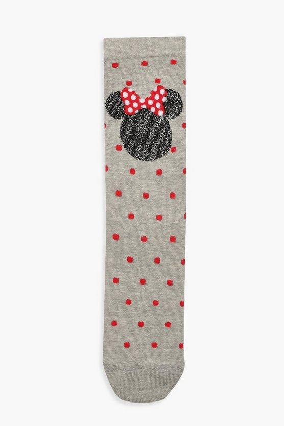 Grey Glitter Minnie Mouse Ankle Socks