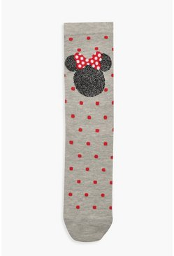 Womens Grey Glitter Minnie Mouse Ankle Socks