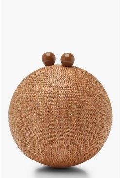 Womens Natural Straw Sphere Clutch Bag
