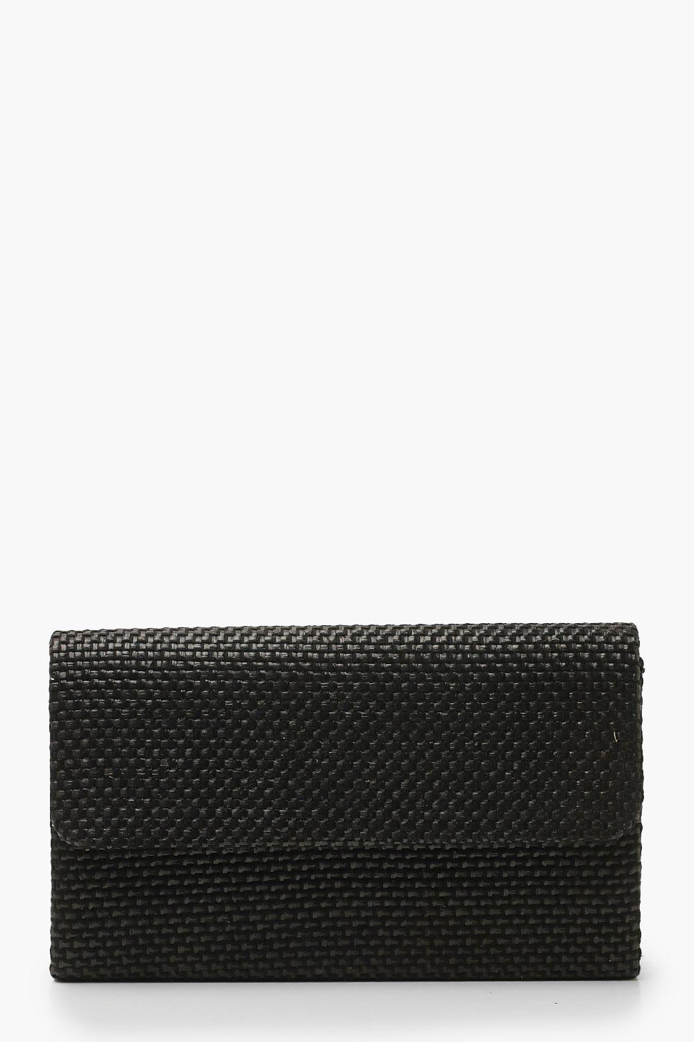 Raffia Straw Structured Clutch & Chain