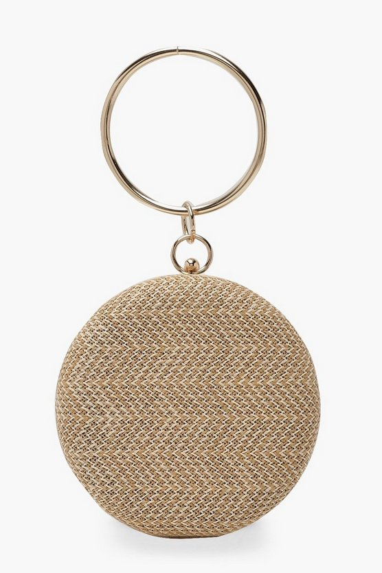 Natural Raffia Straw Ring Handle Clutch Bag