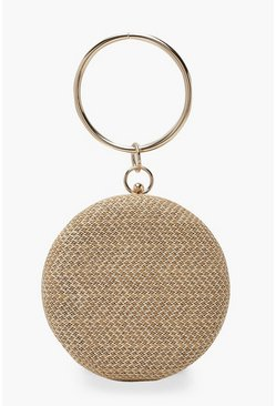 Womens Natural Raffia Straw Ring Handle Clutch Bag