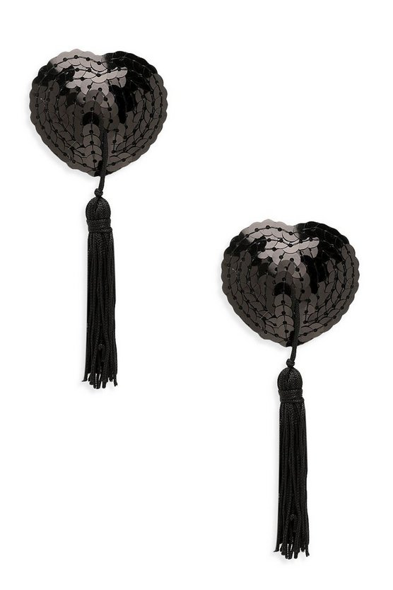 Black Sequin Heart Tassel Nipple Covers
