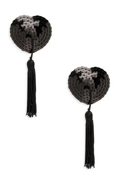 Womens Black Sequin Heart Tassel Nipple Covers