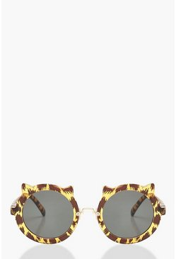 Womens Brown Leopard Round Sunglasses