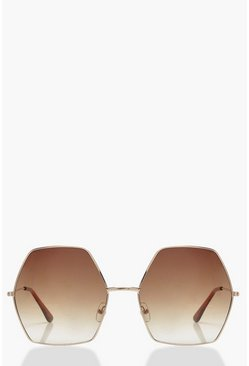 70er-Jahre Hexagon Sonnenbrille in Super Oversized, Gold, Damen
