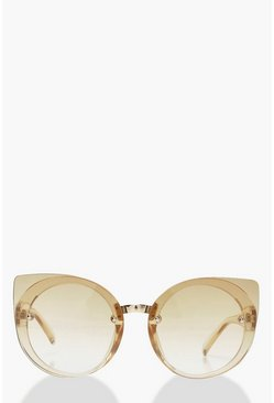 Womens Tan Oversized Opaque Cat Eye Sunglasses