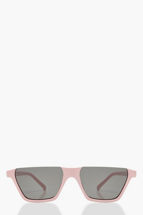 Womens Pale Pink Flat Top Half Frame Sunglasses