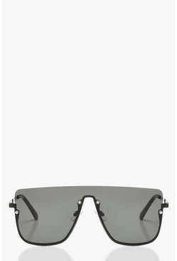 Dam Black Square Top Frameless Oversized Sunglasses