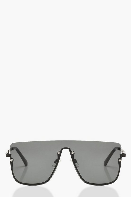 Womens Black Square Top Frameless Oversized Sunglasses