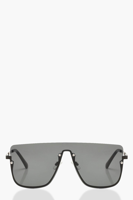 367daeb03 Womens Black Square Top Frameless Oversized Sunglasses. Hover to zoom