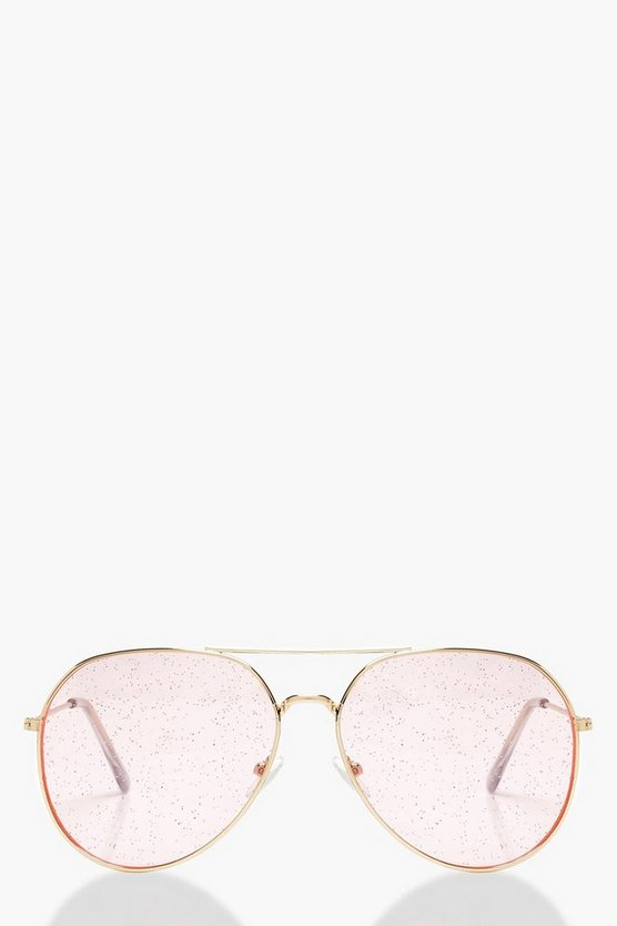 Womens Pink Glitter Lens Aviator Sunglasses
