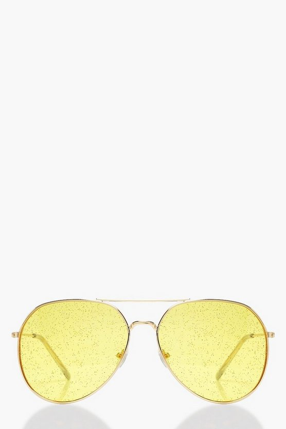 Womens Yellow Glitter Lens Aviator Sunglasses