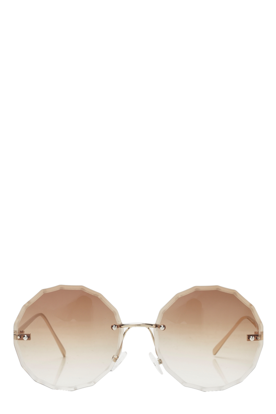 Faded Lens Straight Edge Round Sunglasses