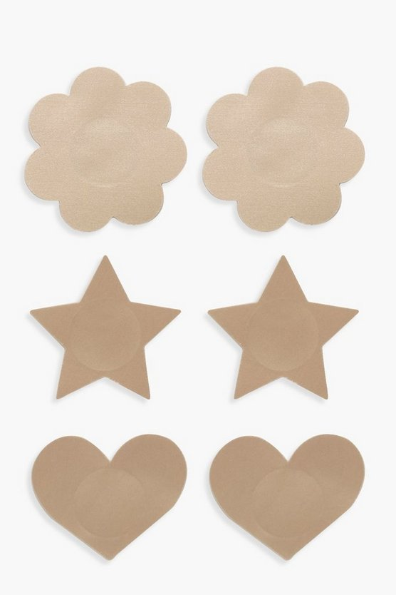 Womens Nude Multi Shape 3 Pack Nipple Covers