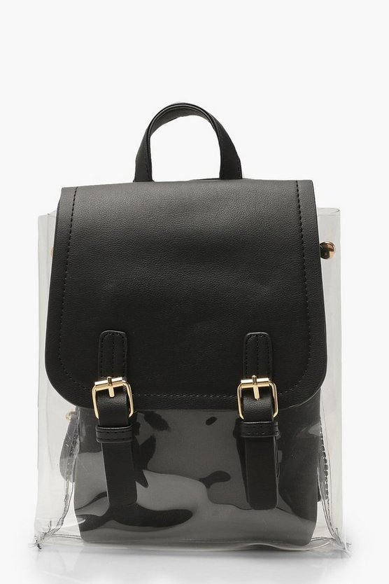 Womens Black Clear Inner Bag Rucksack