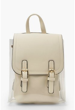 Womens Cream Clear Inner Bag Rucksack