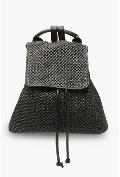 Womens Black All Over Straw Rucksack