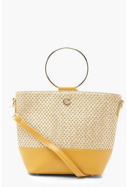Womens Mustard Straw & Ring Handle Cross Body Bag