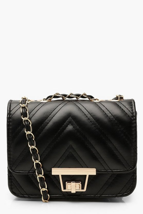 Womens Black Double Chevron Mini Cross Body