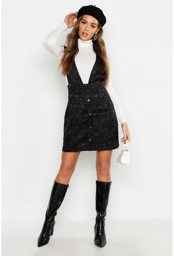 Womens Black Satin Jacquard Plunge Front Pinafore Dress