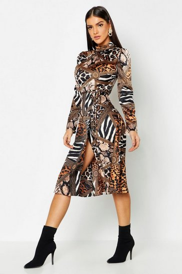Womens Black Mixed Animal Print Keyhole Back Midi Dress