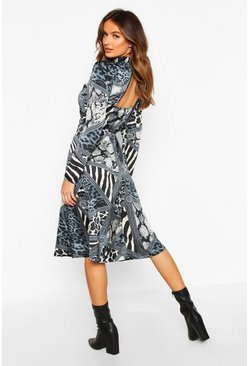 Womens Blue Mixed Animal Print Keyhole Back Midi Dress
