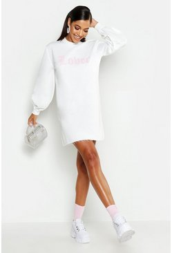 Womens White Lover Balloon Sleeve Oversized Sweat Dress