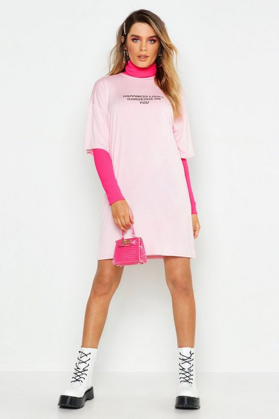 Womens Baby pink Happiness Looks Good T-Shirt Dress