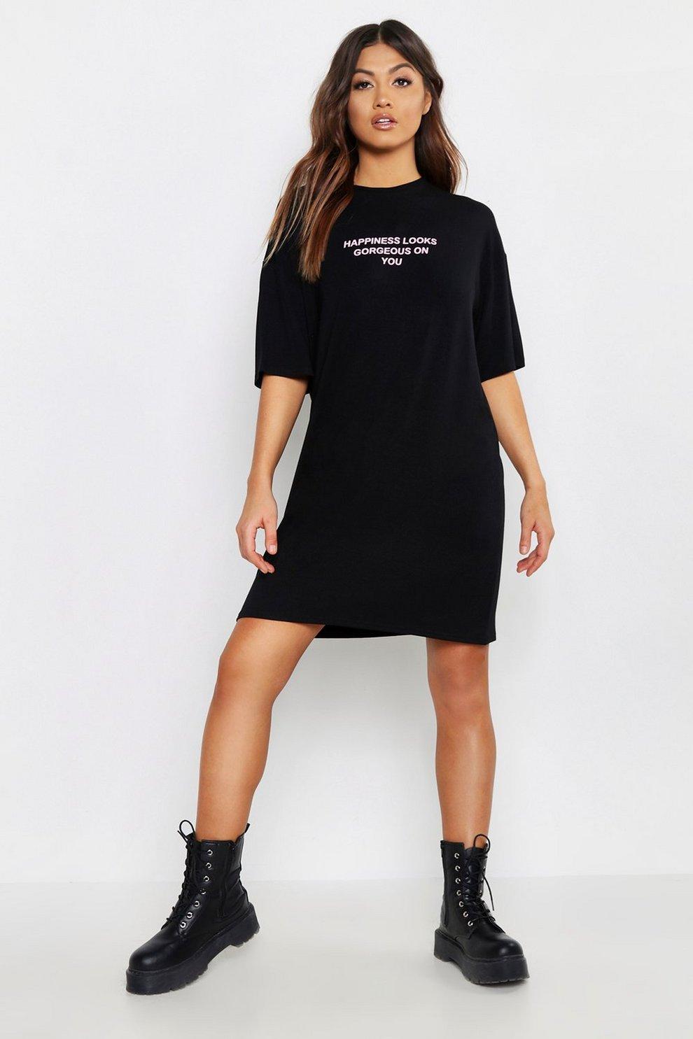 35abcd0a1 Happiness Looks Good T-Shirt Dress   Boohoo