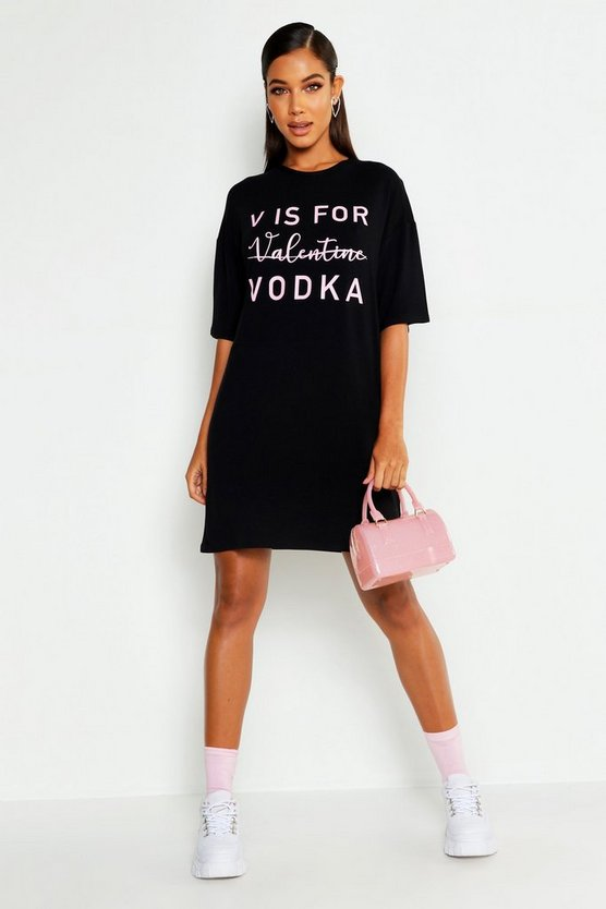 Womens Black V Is For Vodka T-Shirt Dress